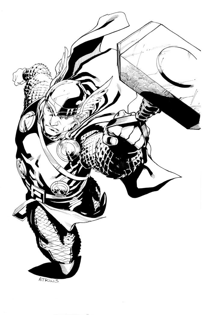 thor sketch by robert atkins asgardian stuff thor tattoo thor superhero coloring. Black Bedroom Furniture Sets. Home Design Ideas