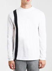 White Panel Turtle Neck T-Shirt