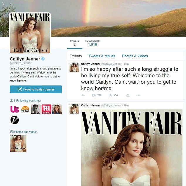 The new me: Jenner launched a new Twitter account under the name Caitlyn Jenner just as th...