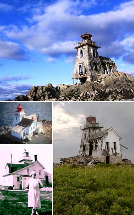 The Grand Harbour Lighthouse and attached keeper's house at Fish Fluke Point on Ross Island, New Brunswick, Canada