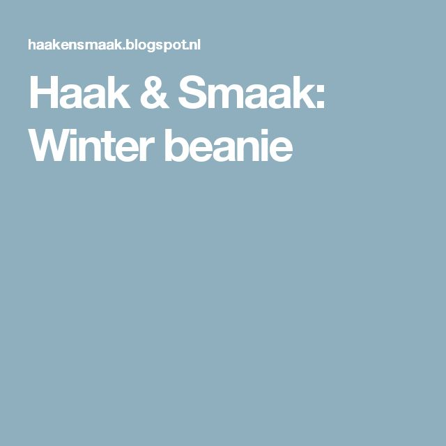 Haak & Smaak: Winter beanie