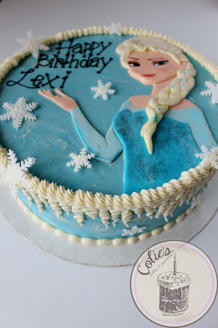 Elsa from frozen cake. Frozen cake. Frozen theme birthday cake. Snowflakes. Round cake. Disney Frozen