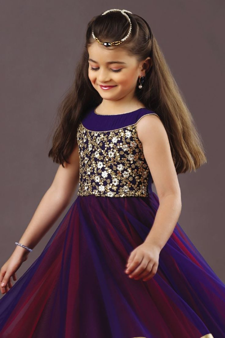 Picture of Three layered stunning kids gown in blue & red