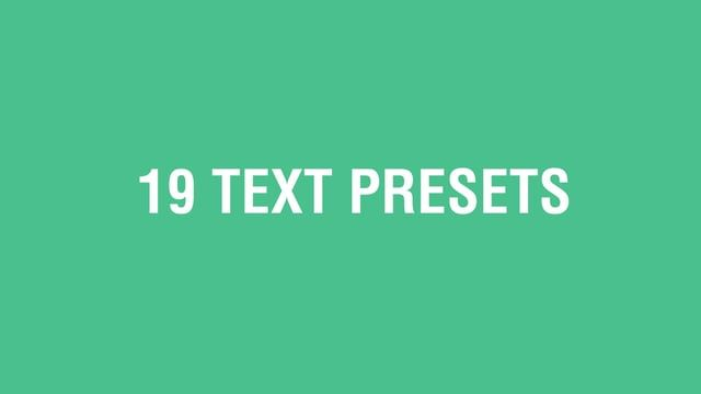 19 text animation presets to easily add movement to your typography whilst saving time. Easy to apply and adjust, you can take these as a template and adapt to your own requirements, or simply use them as they are. Included is an After Effects (cs6 or above) project with the example video and each preset in use. With presets for both text animation IN and OUT, you can mix and match to create some stunning typography. Animations included in the presets are: Animated typography with flas...