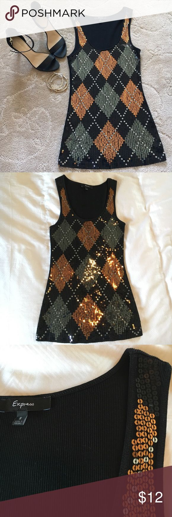 Express black sequin tank top Express black tank top with argyle sequin pattern.  Orange and grey sequin.  Comfy yet edgy.  100% cotton.  Very flattering cut.  EUC. Express Tops Tank Tops