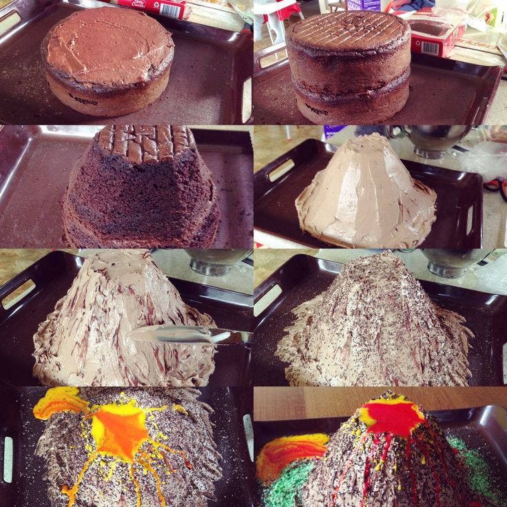 "Volcano Cake.Instead, Bake cake in two varying pyrex bowl sizes and cut down.  After coating with a thin layer of icing, use cocoa rice krispies to create a ""rockier"" rough texture"