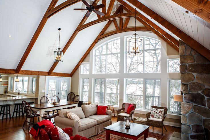 Carling Bay Cottage - Interior - Great Room - Open Concept - Interior Bents - Window Wall - Cedarland Homes - www.cedarlandhomes.ca