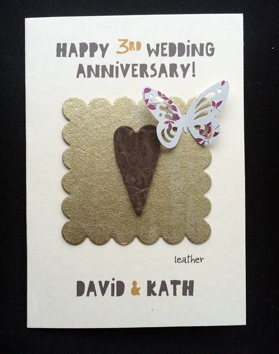 Personalised 3rd leather wedding anniversary card/third