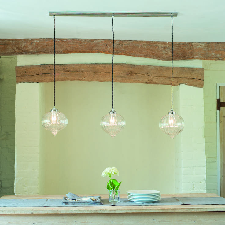 Our Stunning handcrafted #glass Ava #Pendant is now available as a triple track. Perfect for over your kitchen breakfast bar.