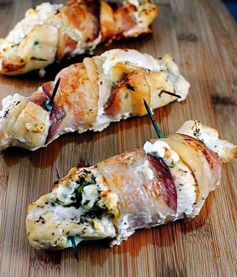 Goat cheese & herb stuffed chicken wrapped in bacon.  Made this for dinner tonight - HUGE hit.   Yummy!