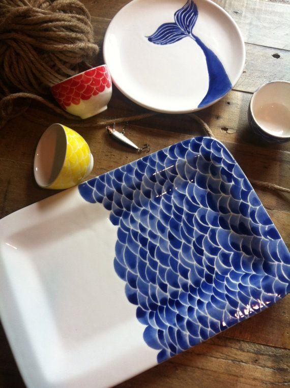 fish scale ceramic serving platter, navy, indigo, nautical, wedding, summer must haves on Etsy, $85.00