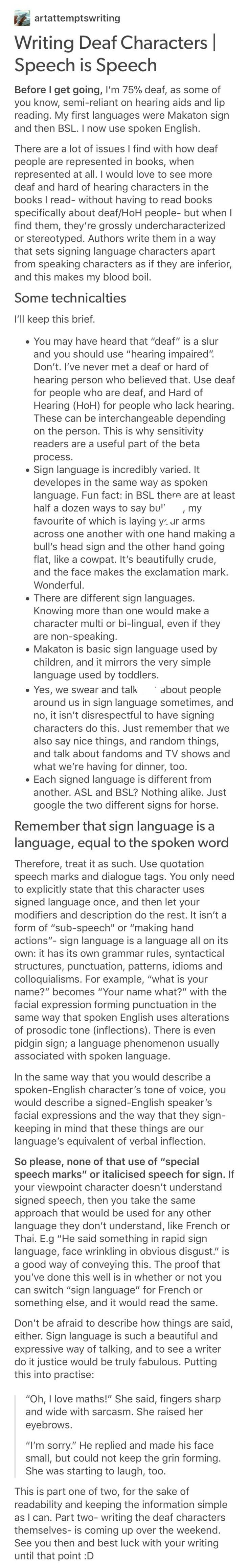 Writing deaf characters ; ohh, I have to use this!!❤