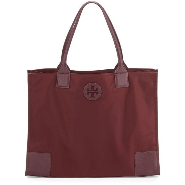 Tory Burch Ella Packable Nylon Tote Bag (67.445 HUF) ❤ liked on Polyvore featuring bags, handbags, tote bags, port, tory burch tote bag, tory burch tote, red tote handbag, zip top tote bags and tory burch handbags