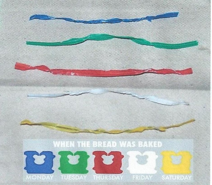 Color Coated Bread Ties tell you when the bread was delivered. I always wondered why the ties are always different colors!