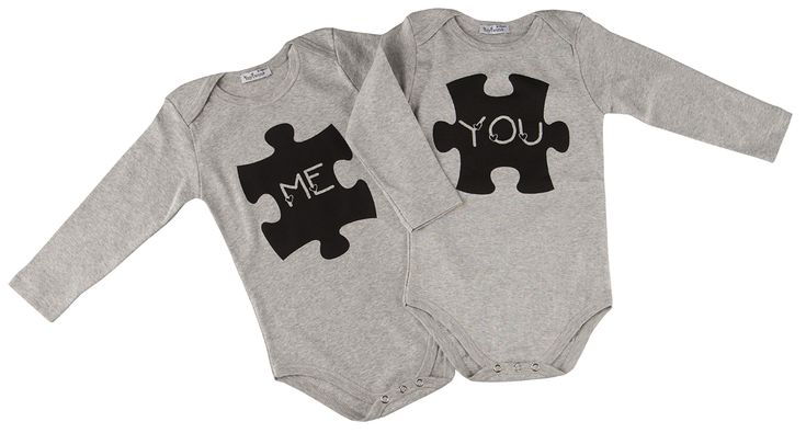 """Baby onesies for twins with """"me you puzzle"""" print. In mytwins collection!"""