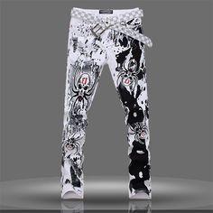 2016 Spider Print Jeans For Men Fashion Skull Print Jeans Plus Size Skinny Straight Men Denim Pants 1750