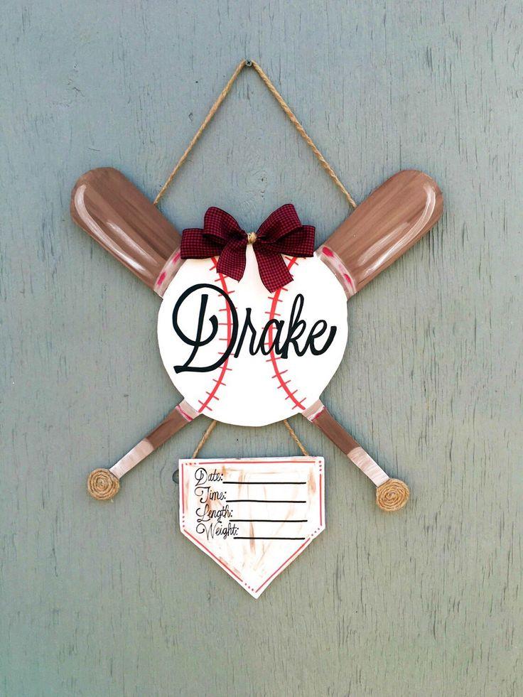 Baseball Baby Door Hanger - Hospital Door Hanger - Baseball Door Hanger by LBWoodenSigns on Etsy https://www.etsy.com/listing/263585456/baseball-baby-door-hanger-hospital-door