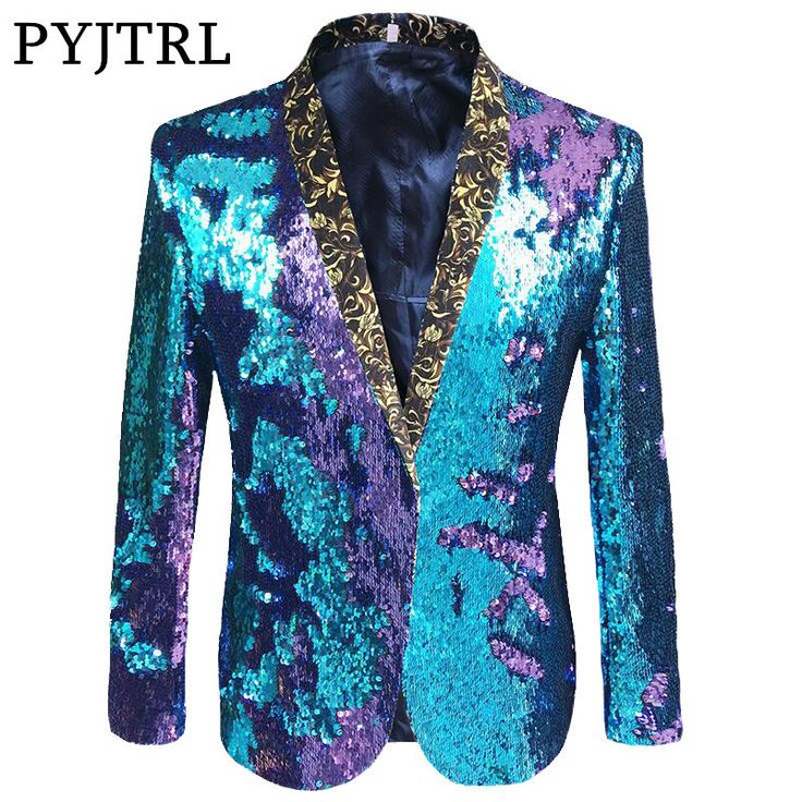 Cheap Blazers, Buy Directly from China Suppliers:PYJTRL S-5XL Tide Men Double-Color Sequins Suit Jacket Punk Nightclub Bar DJ Fashion Flip Paillette Blazer Stage Singer Costumes