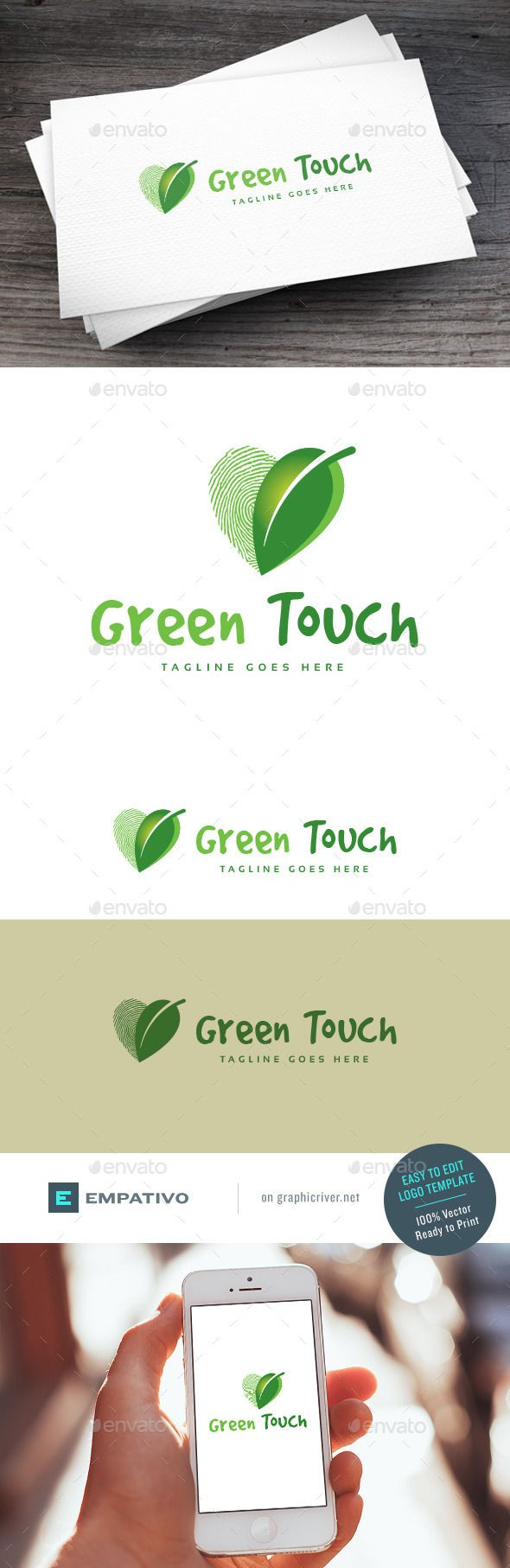 Green Touch Logo Template by empativo Modern, versatile and stylish logo template. Ideal for a wide range of uses. Features  100% vector. Easy to edit color / text