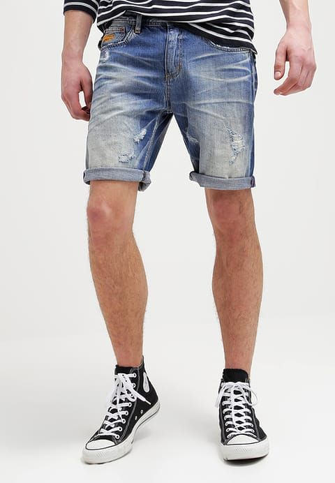 Superdry OFFICER - Szorty jeansowe - quarry used - Zalando.pl