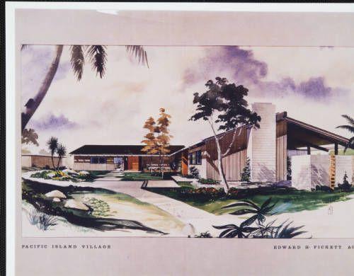 Rendering, Pacific Island Village, 1963. http://digitallibrary.usc.edu/cdm/ref/collection/p15799coll25/id/220
