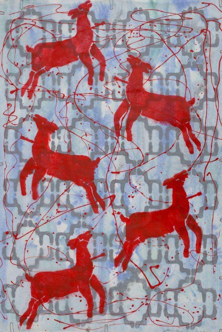 Mulasics László: Cím nélkül II. / Untitled II., 1994, 75 x 54 cm, olaj, zománc, pausz, papír / oil, enamel, tracing paper, paper