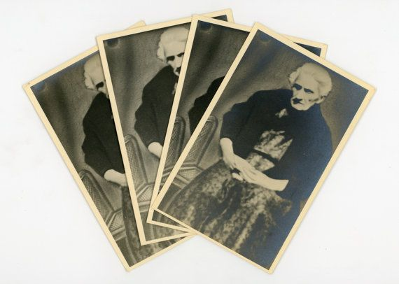 Set of 4 identical original vintage photos of an old lady - Real Photo Postcards- RPPC- granny picture- paper epehemera