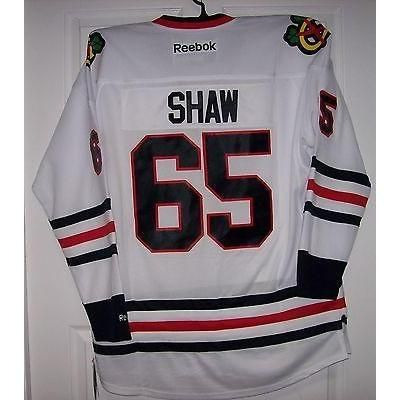 SHAW Chicago Blackhawks Reebok Premier 7185 Away White Jersey