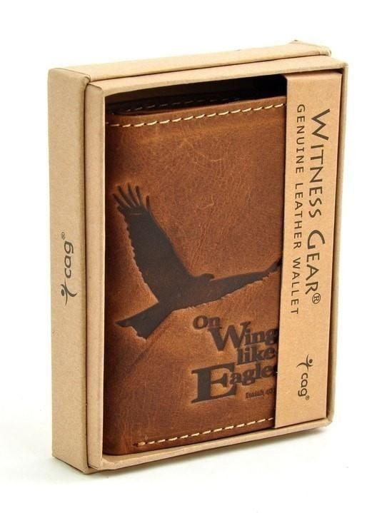 Genuine Leather Wallet Isaiah 40:31 - Brown