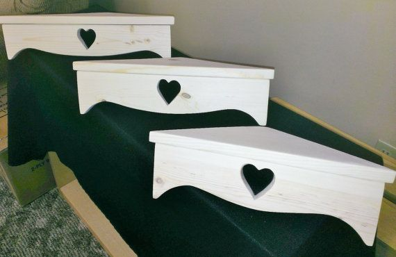 Set of three heart shelves, they are the same as our corner shelves without the peg hooks. Made from 3/4 inch pine. Hand made and great for any