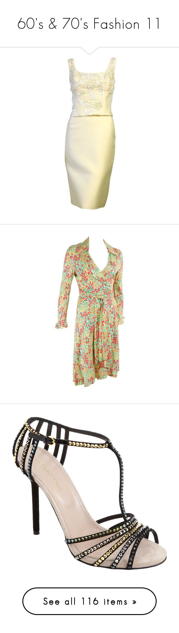 """""""60's & 70's Fashion 11"""" by jeanice09 ❤ liked on Polyvore featuring dresses, beading dress, beige dress, beaded dress, beige cocktail dress, beaded cocktail dress, diane von furstenberg, tulip wrap dress, tulip dress and wrap dress"""