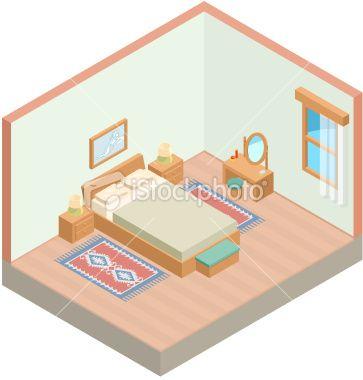 Isometric bedroom Royalty Free Stock Vector Art Illustration