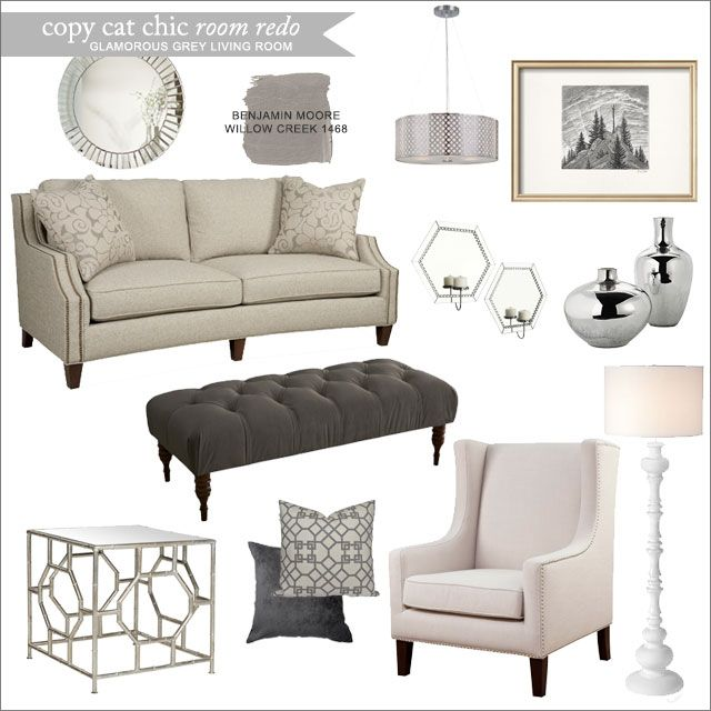 Copy Cat Chic: Copy Cat Chic Room Redo | Glamorous Grey Living Room: