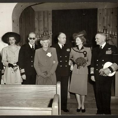 "Myrna Loy's wedding to 20th Century-Fox producer Gene Markey on January 3, 1946: John Ford (in his beloved Naval uniform), Mrs. Della Williams (Myrna's mom), Gene Markey, Myrna Loy and Admiral William F. ""Bull"" Halsey (the best man). John Wayne and Ward Bond also attended the wedding."
