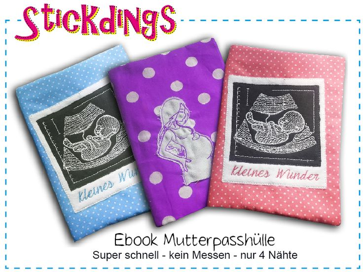 Kostenloses Ebook Mutterpasshülle - kostenlose Anleitung mit Schnittmuster. Außerdem eine Hilfe wie man Stickmuster perfekt auf der vorderen Seite positioniert beim Zuschneiden