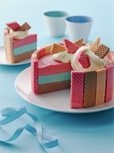 Pastel Pretty Neopolitan Ice Cream Cake Recipe #Pastel #Pretty #Neopolitan #Ice_Cream #Cake #Summer #Ice_Box #Recipes #Ideas
