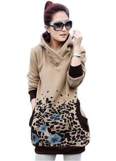 Long Sleeve Vintage Floral Print Hoodie With Pocket_Sweatshirts & Hoodies_Women Clothes_Sexy Lingeire | Cheap Plus Size Lingerie At Wholesale Price | Feelovely.com