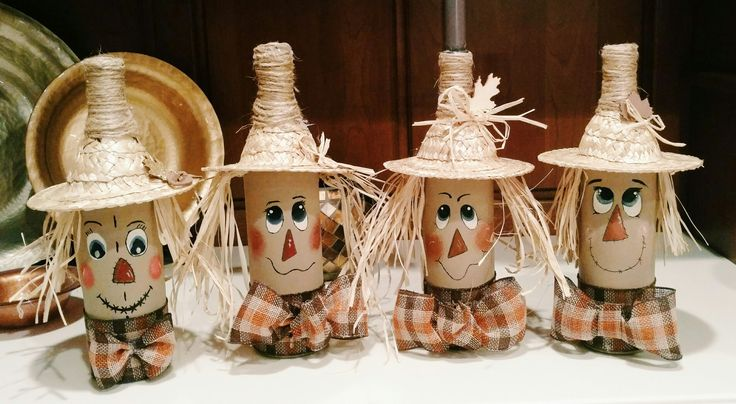 Scarecrow wine bottle craft