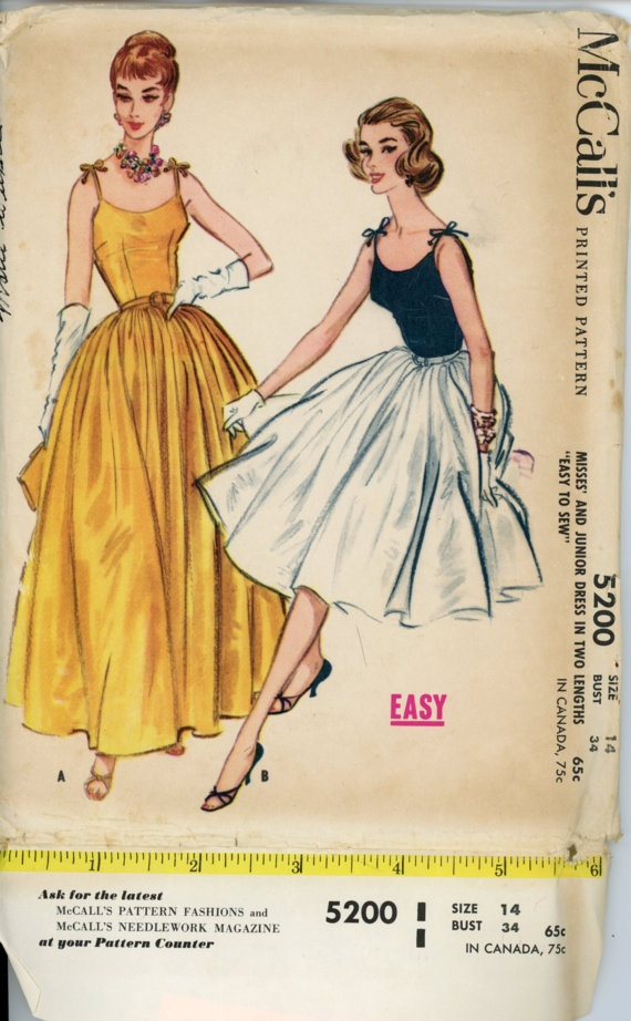 McCalls 5200 Misses 1950s Evening Gown Dress by CynicalGirl, $78.00