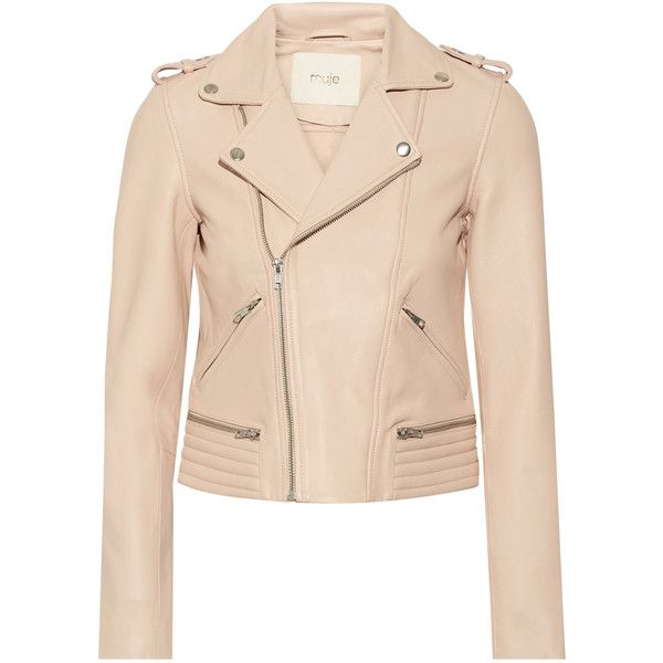 Maje Leather biker jacket found on Polyvore featuring outerwear, jackets, blush, cropped motorcycle jacket, rider leather jacket, cropped jacket, asymmetrical zip jackets and cropped moto jacket
