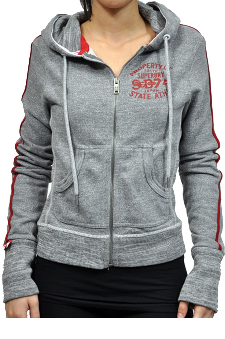 Felpa Superdry in grigio, con zip e cappuccio, tasche frontali, scritta frontale e bande sulle maniche in rosso
