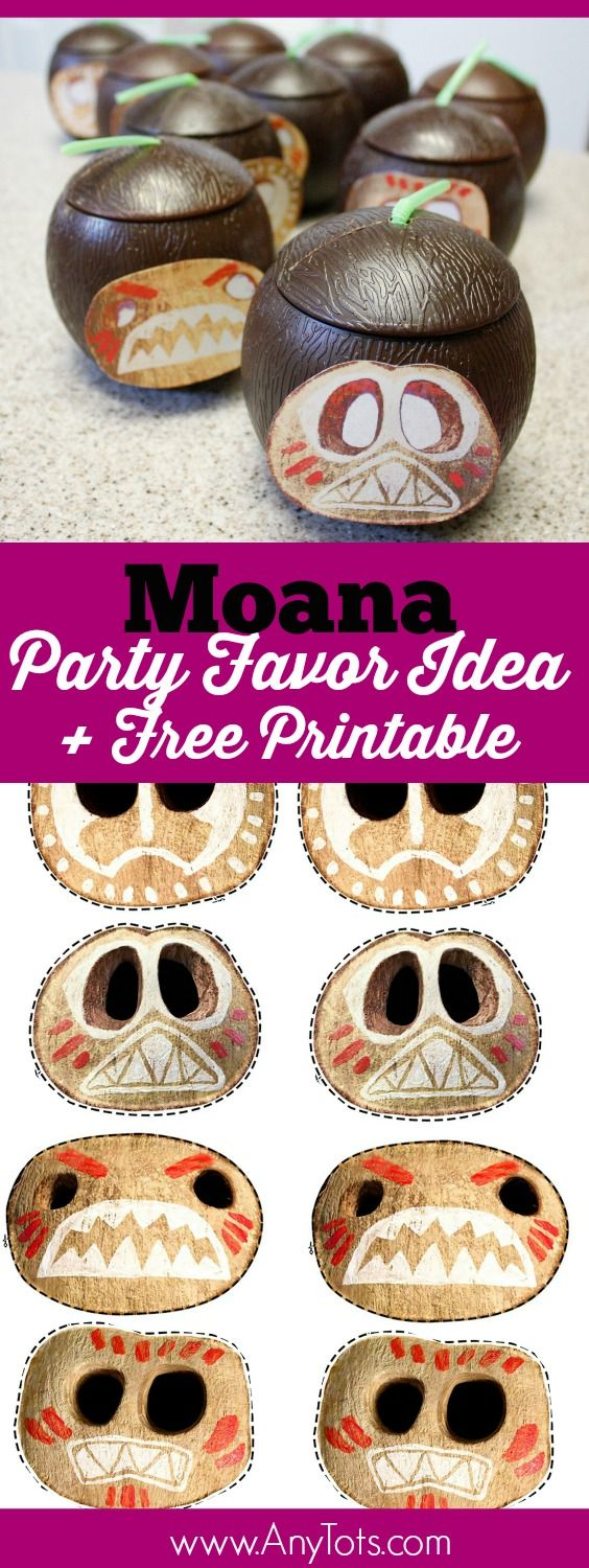 Moana Party Favor Idea. Kokamora Coconut Cups. Use the Free Printable Kokamora Face. www.anytots.com for more party ideas including Moana Cake Ideas and Moana Birthday Dress Ideas.