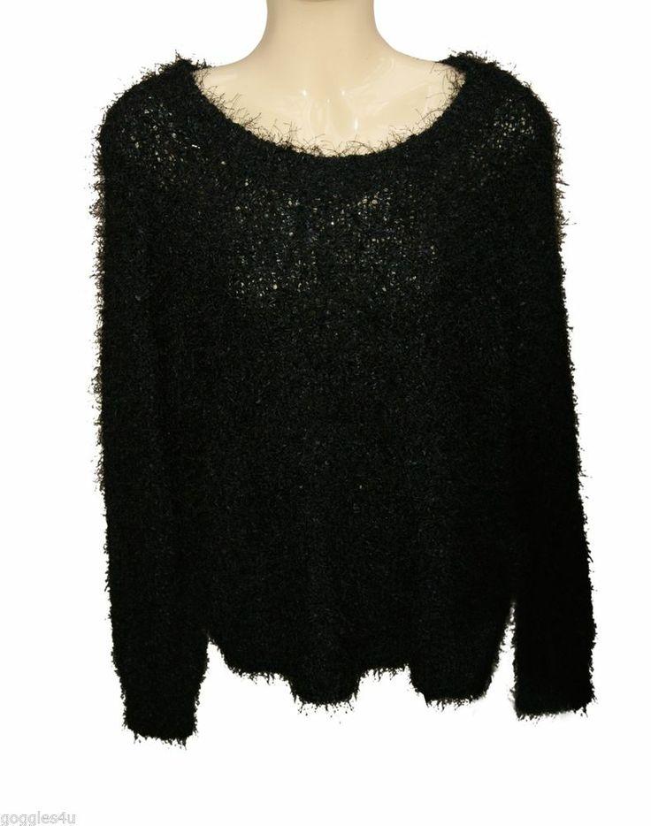 Marks and spenser Jumper 12 Black Chunky Fluffy Knitted