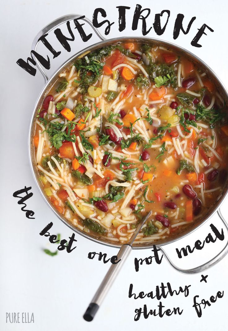 Pure Ella | Healthy and Easy Minestrone Recipe : the best one pot meal | www.pureella.com #soup #onepotmeal