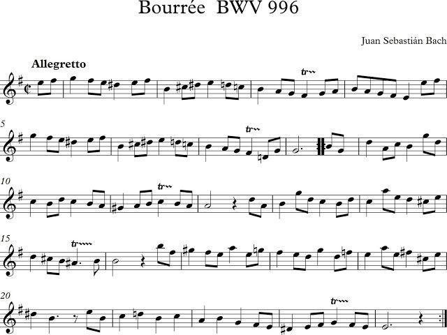 Descubriendo la Música. Partituras para Flauta Dulce o de Pico.: Bourrée BWV 996 Juan Sebastián Bach