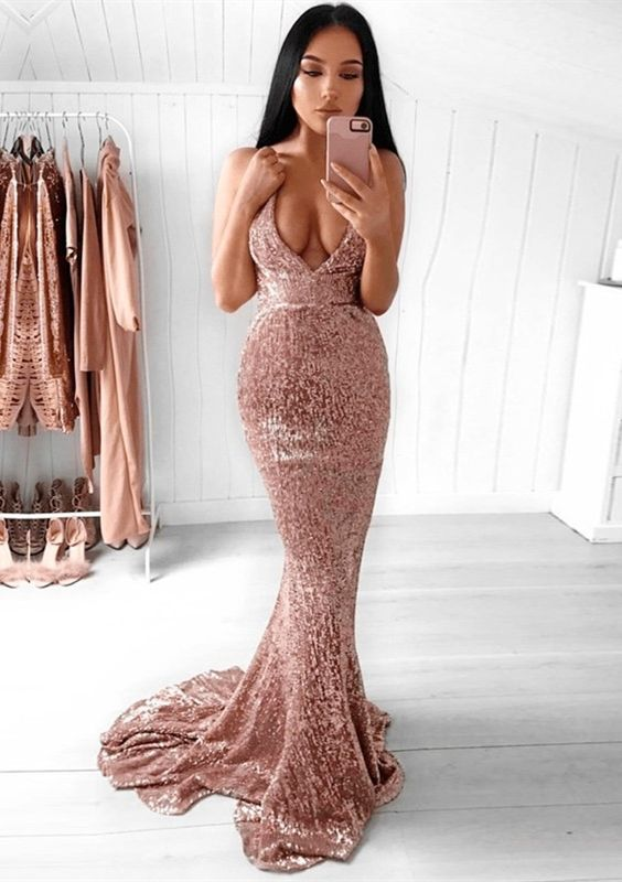d764ffc084 Mermaid Deep V-Neck Backless Sexy Sequined Prom Dress with Train in ...