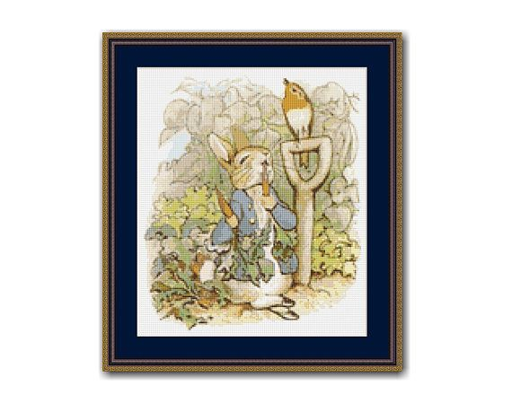 "The Tale Of Peter Rabbit #7 Cross Stitch Pattern / Chart, Beatrix Potter, ""Then He Ate Some Radishes"", Instant Digital Download (TPR007)"