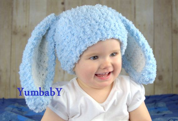 Bunny Hats Blue Fluffy Easter Bunny Hat Rabbit Ears by YumbabY