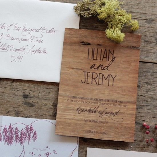 earthy wood and floral wedding invitation from akimbo