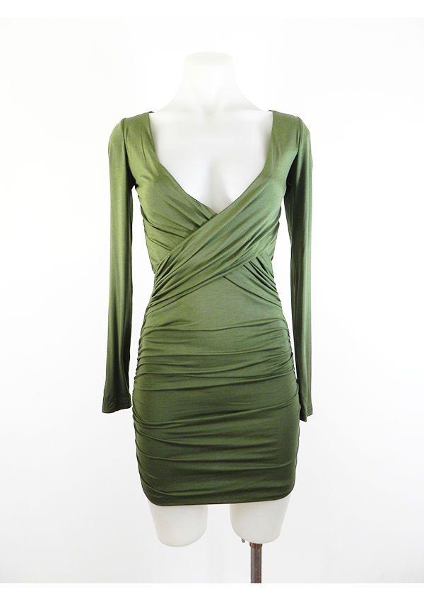 Wrap Style Cross Front Khaki Mini Dress By AVA BNWT 6 8 10 12 14